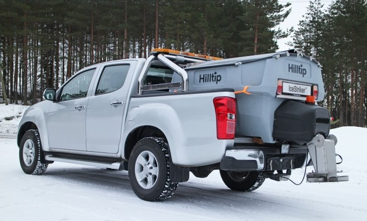Hilltip IceStriker Salt spreader on pickup