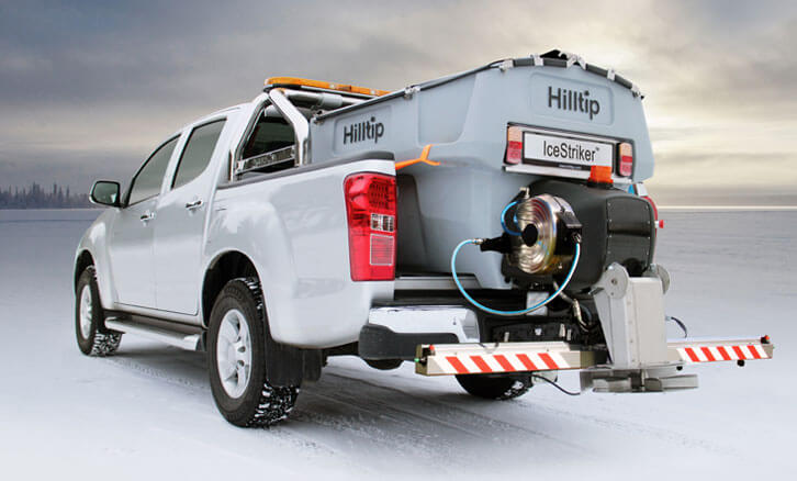 Hilltip Salt spreader mounted on pick-up